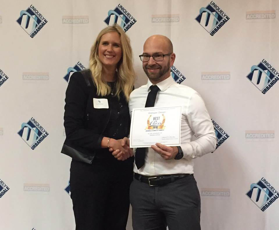 Webspec founder and owner, Jeremiah Terhark with the Chamber's 2017 Chair, Lori Gelhaar.