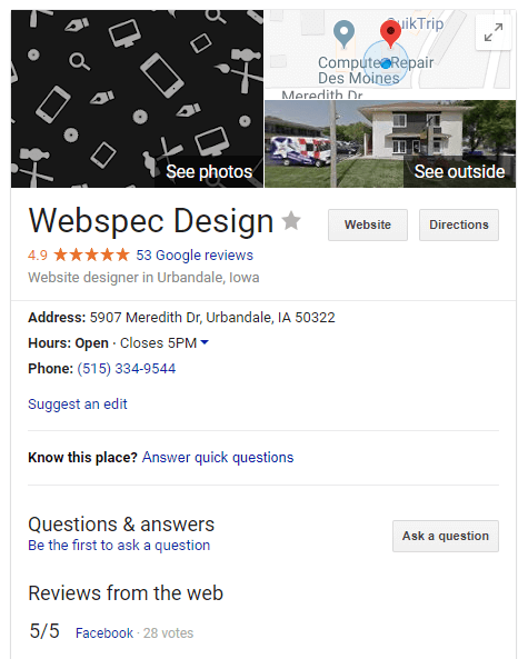 knowledge panel google my business webspec design