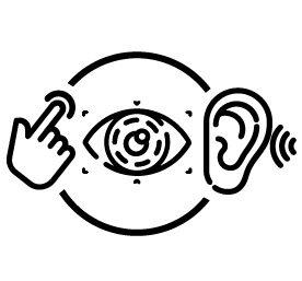 An illustration of a finger tapping, an eye, and an ear to represent the WCAG Perceivable principle.