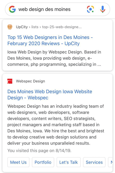 screenshot of a search engine result on mobile