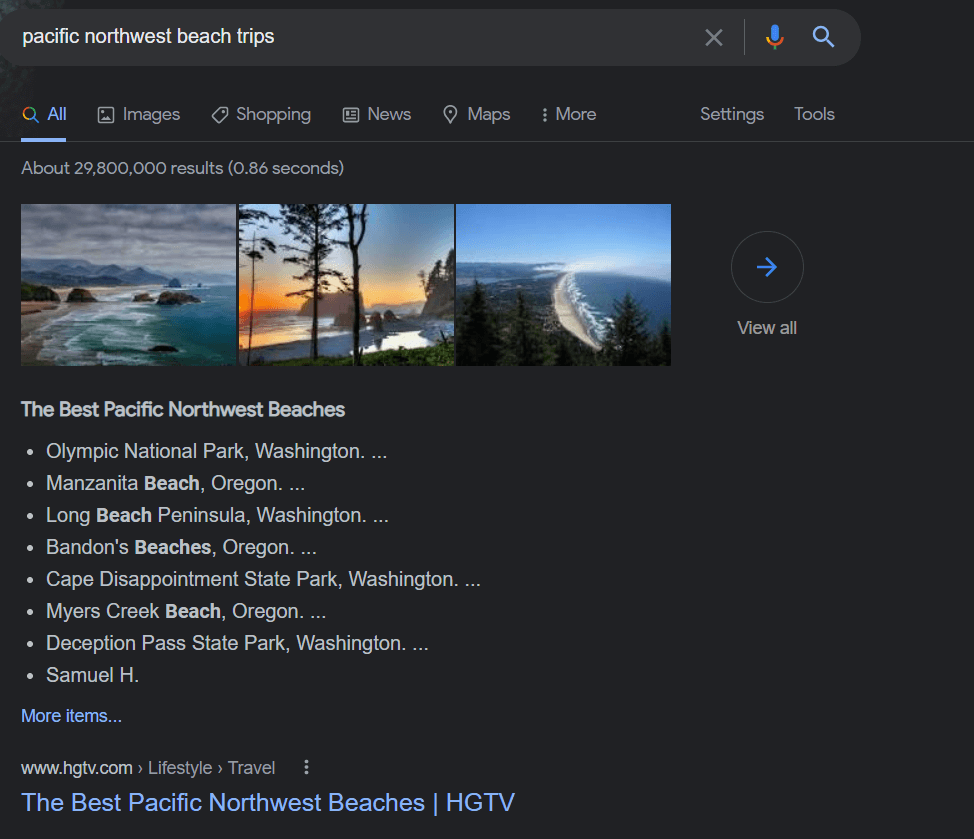 """A screenshot of a SERP for the query, """"pacific northwest beach trips"""""""